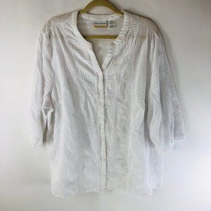 Alfred Dunner Womens Button Up Shirt White Paisley Embroidered Cotton Plus 22W